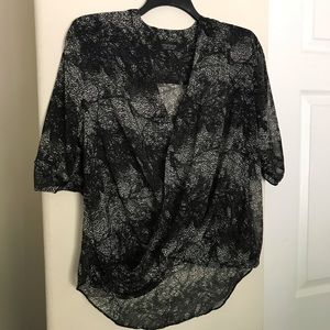 Topshop Sheer Animal Print Faux Wrap Top